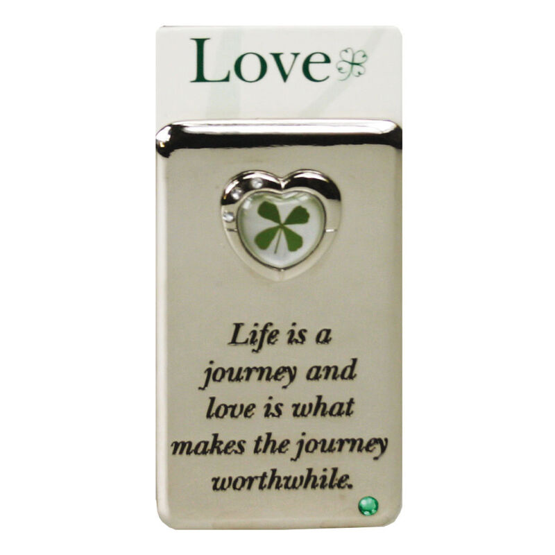 Metal Magnet With Four Leaf Clover For Life Is A Journey With Love