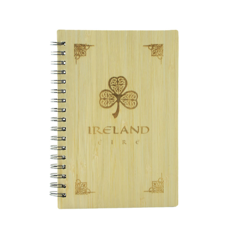 Wooden Designed Ireland Notebook With Celtic Shamrock Design