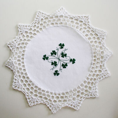 Pure Cotton White Table Centre Designed With Shamrock Crochet  30Cm