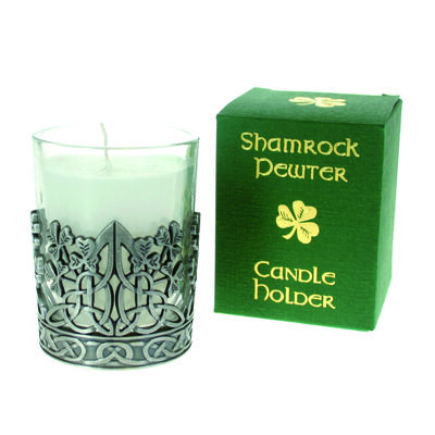 Pewter Shamrock Designed Candle Holder With Vanilla Scented Candle