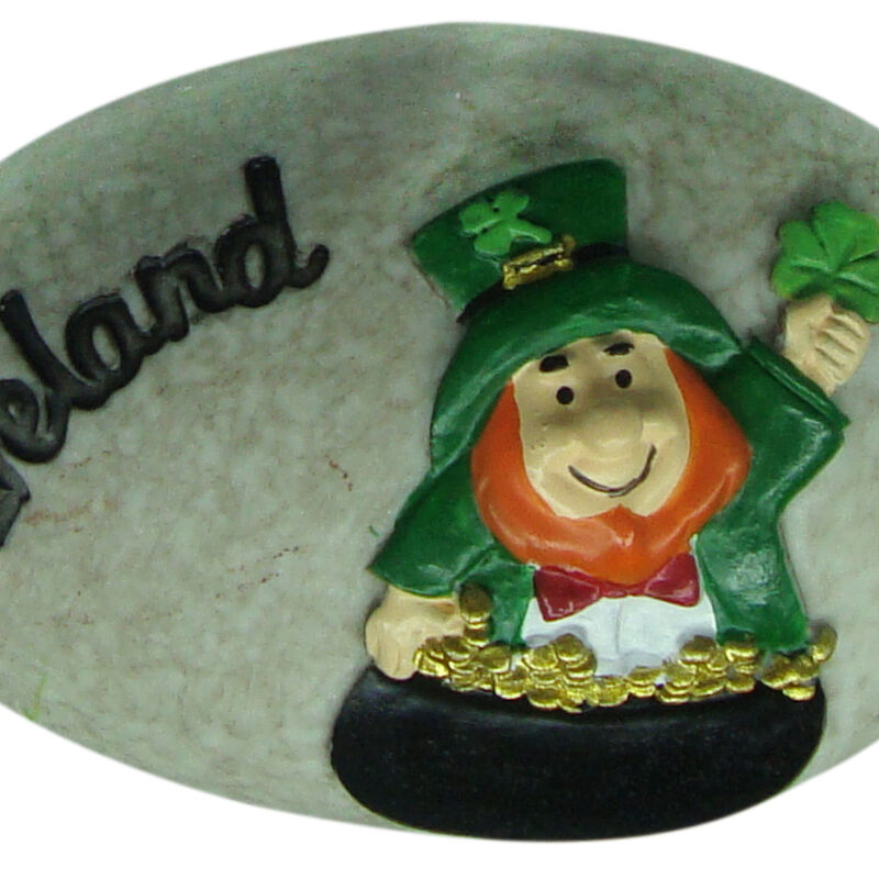 Round Irish Leprechaun Stone With Black Ireland Text And Green Shamrock Design