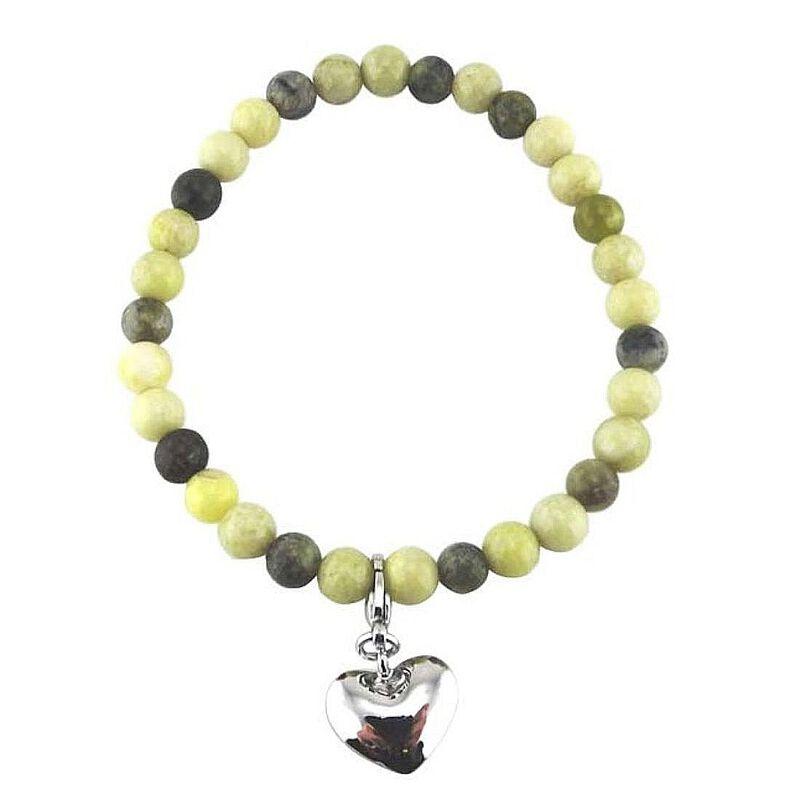 Connemara Marble Multi Coloured Bracelet With Heart-Shaped Charm