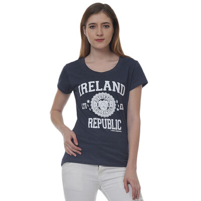 Ladies T-Shirt With Ireland Republic Ltd Edt Varsity Shield  Navy Colour
