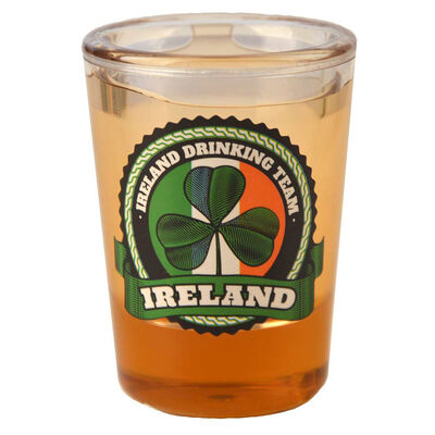 Ireland Drink Team Shot Glass With Shamrock And Tricolour Design