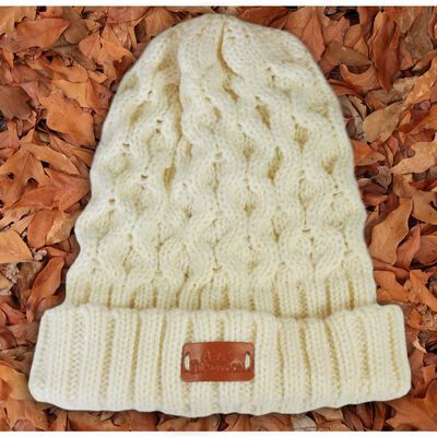 Aran Traditions Knitted Style Cable Design Beanie Hat  Cream Colour