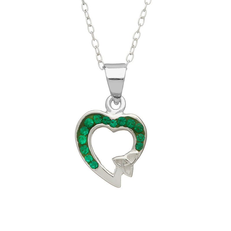 Hallmarked Sterling Silver Heart Shaped Green Pendant With Mini Trinity Knot Design