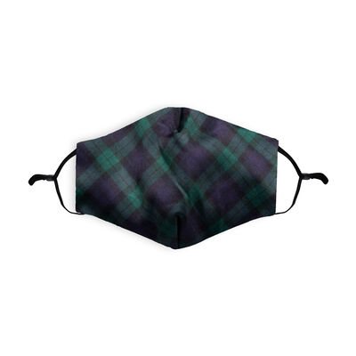 Re-usable Face covering Black Watch Tartan Design With Adjustable Ear Loops & Filter