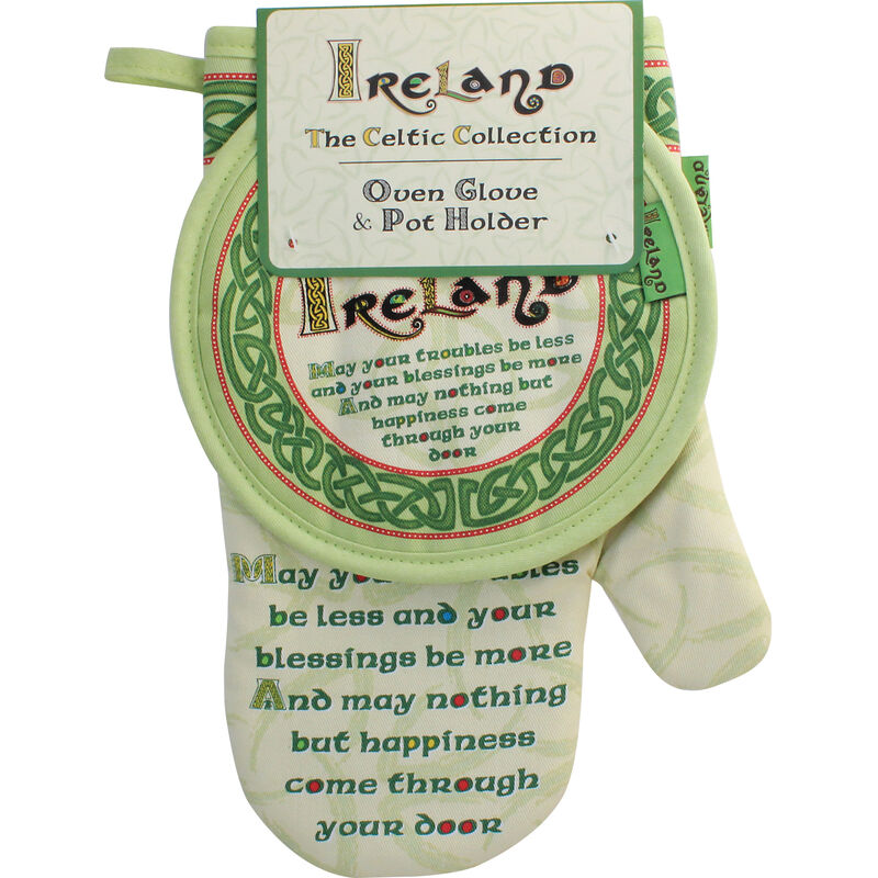 Celtic Collection Oven Glove and Pot Holder With Irish Blessing Design