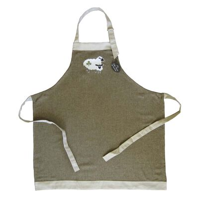 Celtic Irish Linen Green Apron With Two Sheep And Shamrock Design