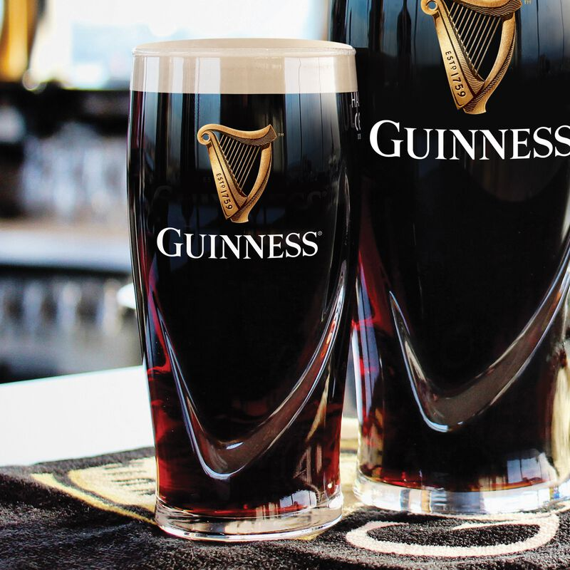 Official Guinness Logo 2 Pack 1/2 Pint Glass Set with Embossed Harp