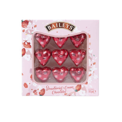 Baileys Strawberries & Cream Heart Chocolates, 90G