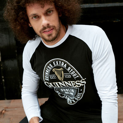 Black And White Guinness Long Sleeve T-Shirt With Dublin Ireland Label