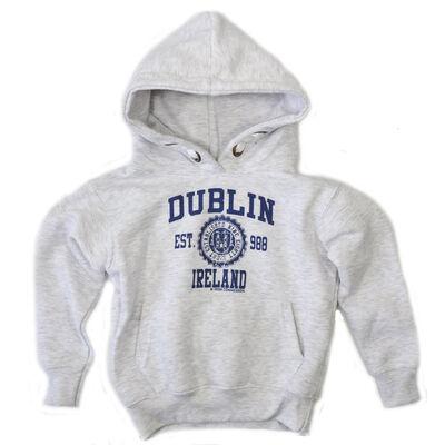 Pullover Hoodie Varsity Style Dublin Print  Ash Grey Colour