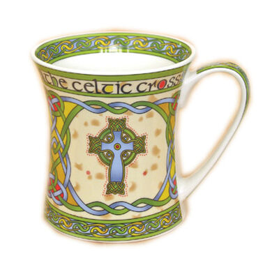 Irische Weave Keramiktassen Kollektion mit Hochkreuz Aufdruck