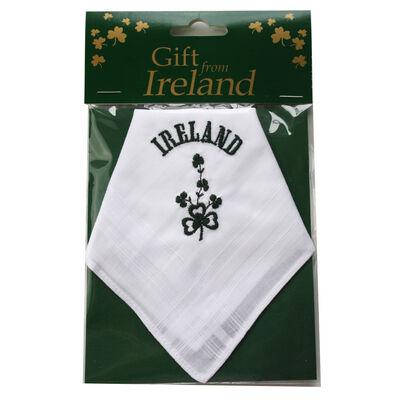 Ladies Pure Linen Handkerchief With Green Shamrock Print