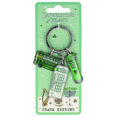 Impressions Of Ireland Charm Keychain With Tour Bus  Postbox And Phonebox Design