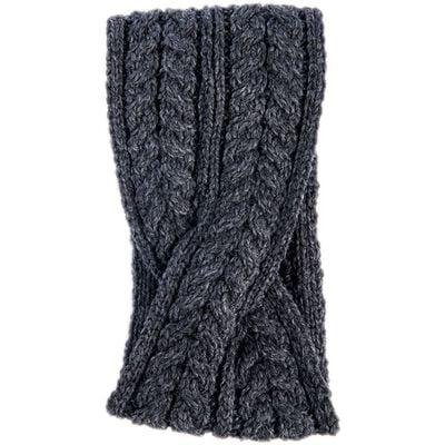 Aran Woollen Mills Super Soft Merino Wool Crossover Headband  Dark Grey Colour