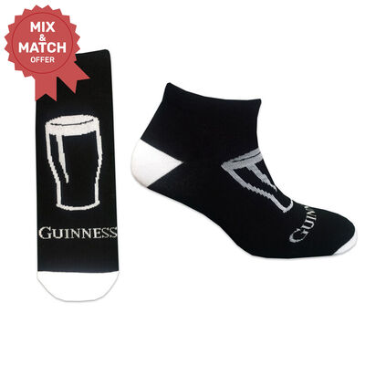 Guinness Pint Glass Design Socks With White Guinness Text Black And White Colour