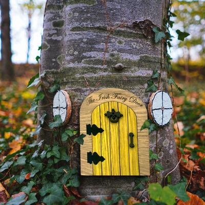 The Irish Folklore Collection Yellow Wooden Fairy Door