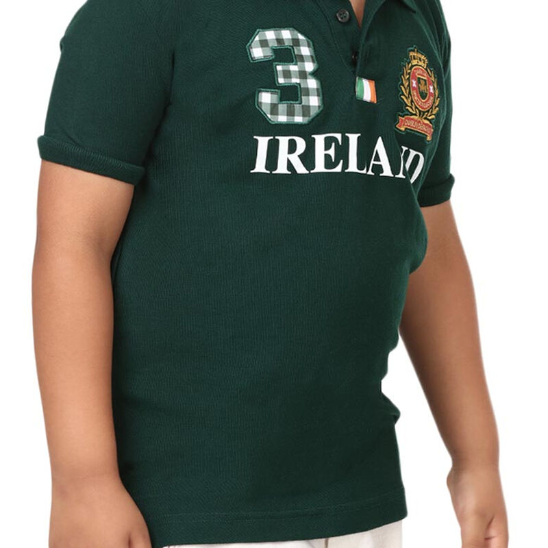Forest Green Ireland polo Shirt With Ireland 3 Design Crest And Tri Colour
