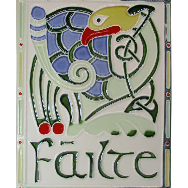 7.5 Hand Painted Ceramic Wall Plaque Failte