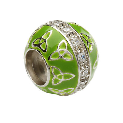 Hallmarked Sterling Silver Green Bead Charm With Trinity Knot Design