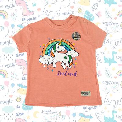 Ireland Baby T-Shirt Unicorn Rainbow Design, Nude Colour