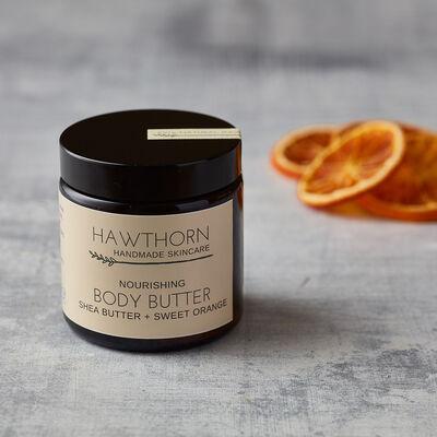 Hawthorn Handmade Skincare Nourishing Body Butter Shea Butter & Sweet Orange, 120ml