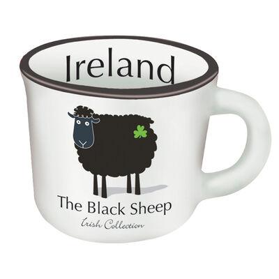 Ceramic Black and White Sheep Espresso Mug With Black Sheep Design