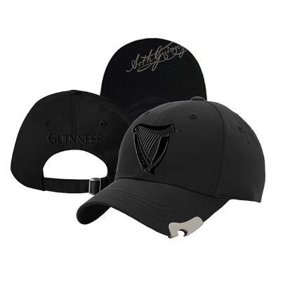 Black Guinness Baseball Cap With Bottle Opener And Harp Design