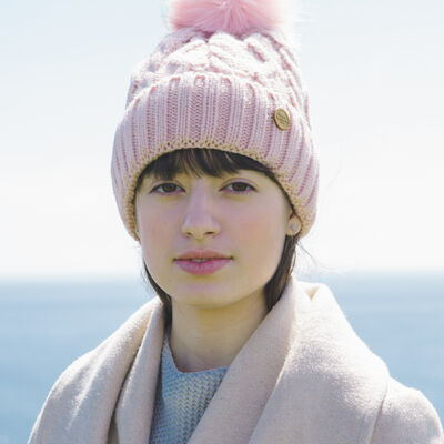 Irish Knitwear Co. Pink Cable and Zig Zag Knit Bobble Hat