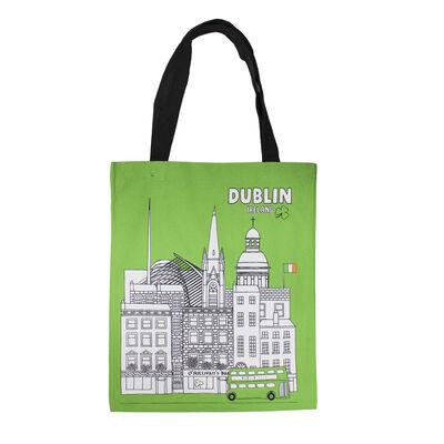 Printed Green Canvas Shopping Bag Of Famous Historic Dublin Landmarks