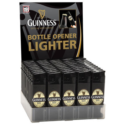 Guinness Electronic Single Lighter And Bottler Opener With Lapel Design  Black Colour