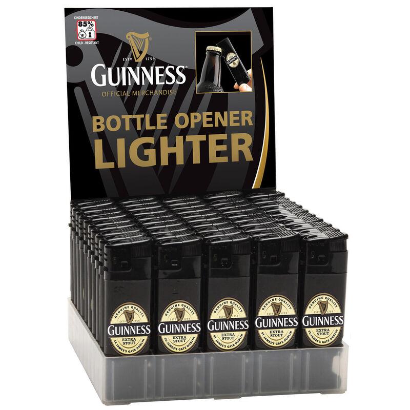 Guinness elektronisches Feuerzeug und Flaschenöffner mit Revers  Farbe: schwarz