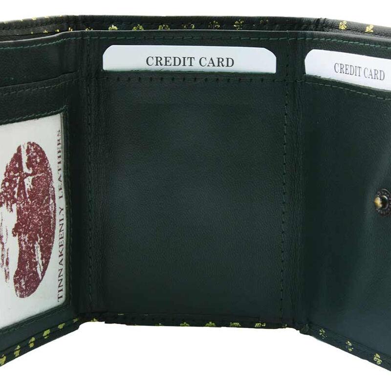 Tinnakeenly Leathers Ladies 3-Zip Purse Wallet With Shamrock Pattern Design
