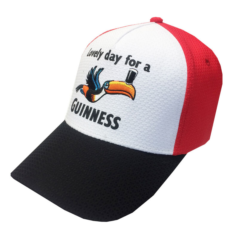 Lovely Day For A Guinness Baseball Cap With Toucan Design, Red & White Colour