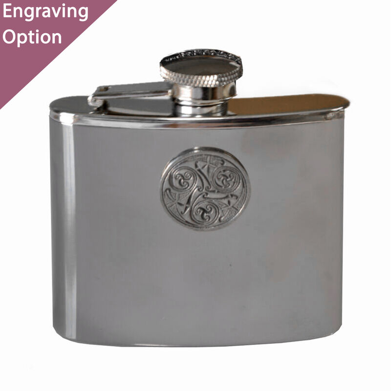 Mullingar Pewter Stainless Steel Hip Flask With Celtic Spiral