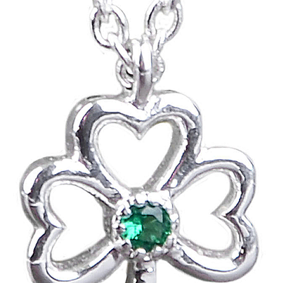 Silver Plated Shamrock Emblem Of Ireland Open Designed Ribbon With Green Zirconia Stone Pendant