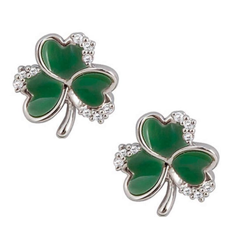 Silver Plated Green Shamrock Earrings With Cubic Zirconia Stones