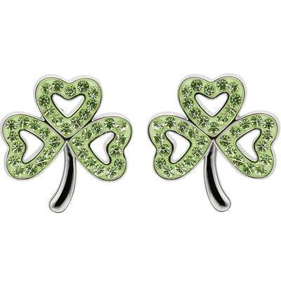 Platinum Plated Shamrock Stud Earrings With Peridot Swarovski Crystals
