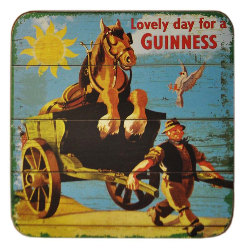 Nostalgic Coaster With Lovely Day For A Guinness Horse And Cart Design