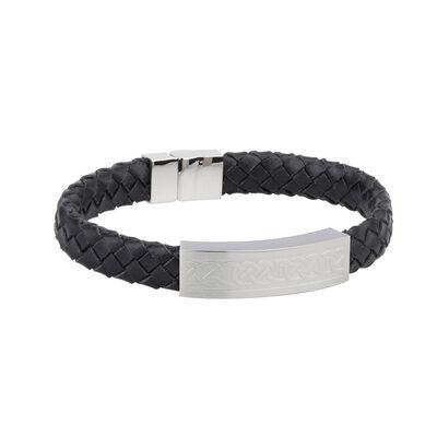Mens Black Leather Bracelet Wristband With Steel Celtic Knot Design