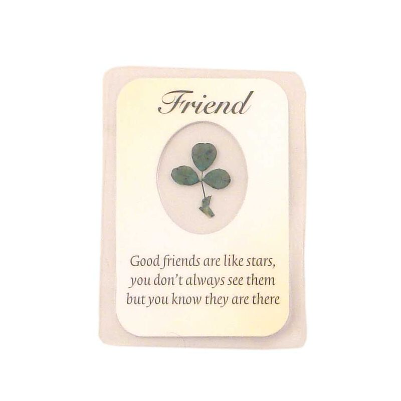 Laminated Friend Good Luck Emblem With Real Shamrock Design  3.5 X 2