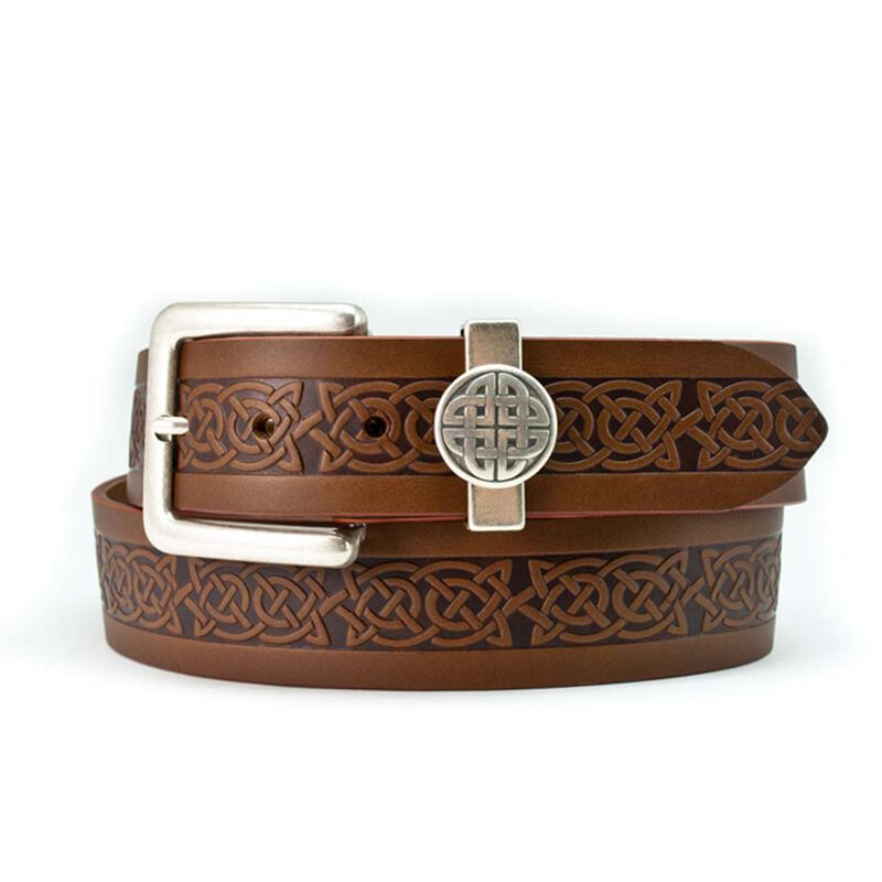 Lee River 40mm Genuine Brown Leather Belt with a Celtic Design and a Celtic Loop