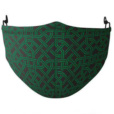 Re-Usable Face Covering Celtic Knot Design With Adjustable Ear Loops