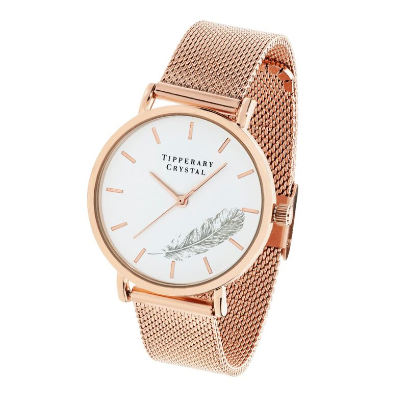 Tipperary Crystal Rose Gold Simple Ladies Watch With Feather Design