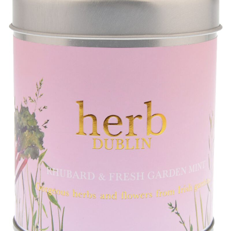 Rhubarb And Fresh Garden Mint 35 Hour Soy Wax Candle From Herb Dublin  180g