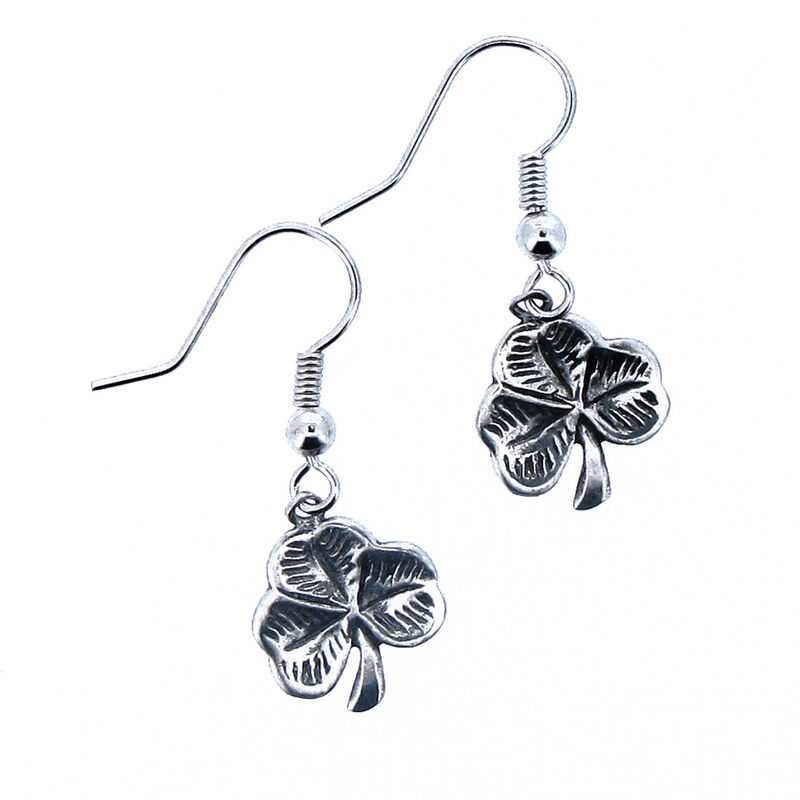 Celtic Legends Pewter Earrings With Shamrock Design