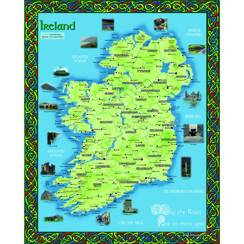 8 by 10 Hanging Wall Decoration With The Ireland Map Design