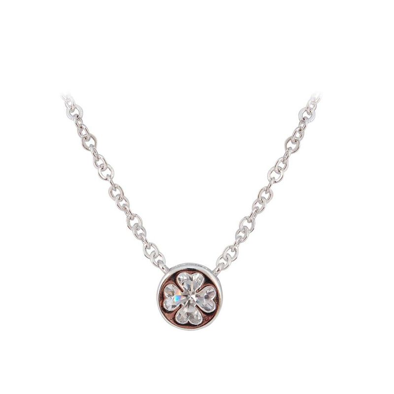 Silver Plated Round Pendant With Clover Shaped Cubic Zirconia Crystal Inlay